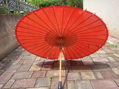 Японский стиль. Винтажный Бамбуковый Шелковый Зонтик. Б/У