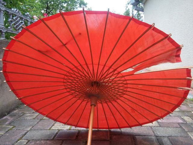 Японский стиль. Винтажный Бамбуковый Шелковый Зонтик. - 2