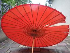 Японский стиль. Винтажный Бамбуковый Шелковый Зонтик. - Изображение 2