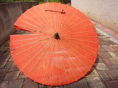Японский стиль. Винтажный Бамбуковый Шелковый Зонтик. - Изображение 3